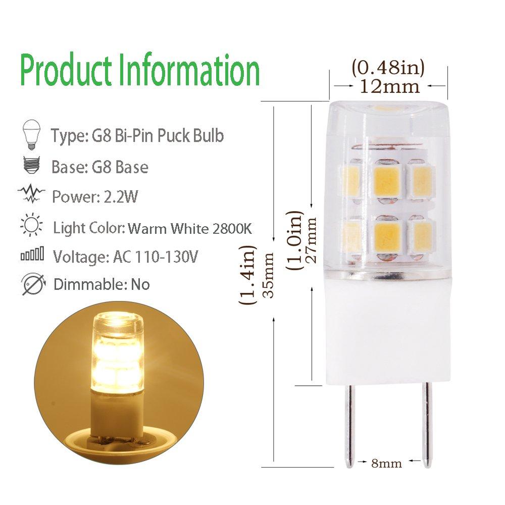 LED G8 Light Bulbs, 2.2W Halogen Xenon Replacement Bulb, G8.5 Bi-Pin Puck Bulb 20W Equivalent, 120V Warm White 2800K, Under-counter illumination Light Bulb ...