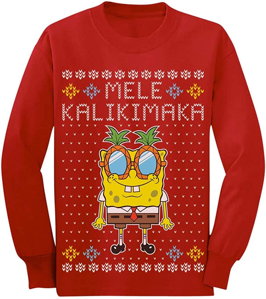 Ugly Christmas Mele Kalikimaka Spongebob Toddler//Kids Long Sleeve T-Shirt
