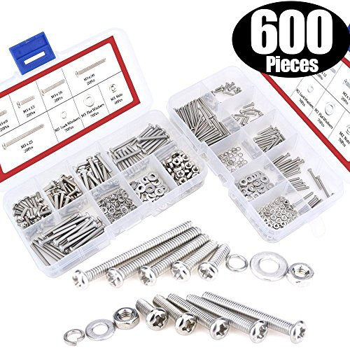 Lock Nut Kit - Hilitchi 600-Piece M2 M3 Phillips Pan Head Screws Bolt Nut Lock Flat Washers Assortment Kit, 304 stainless steel