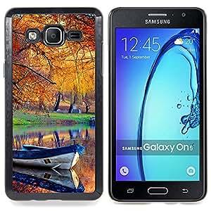 Qstar Arte & diseño plástico duro Fundas Cover Cubre Hard Case Cover para Samsung Galaxy On5 O5 (Bateau automne Autumn Leaves)