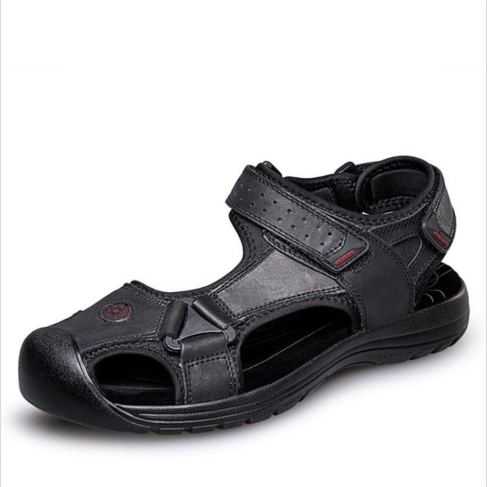 Zapatillas Sandalias para Hombre Al Aire Libre Negro Zapatos Casuales Sandalias De Cuero Colisión Transpirable Zapatos (24.0-27.0) CM Zapatos de Playa 43 1/3 EU|Negro