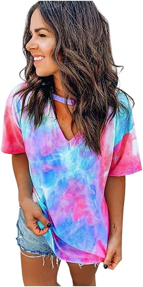FashionWomen Tie-Dye Print O Neck Short Sleeve Casual Outfits with FaceCover 3pc