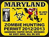 Maryland Zombie Hunting Permit 2012/2013 (Bumper Sticker)