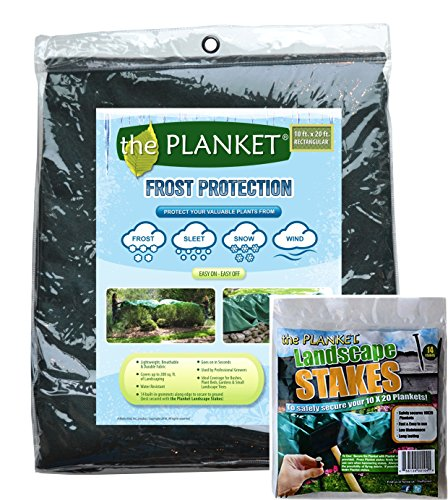 Planket Plant Frost Protection Cover Kit, 10 ft x 20 ft Planket + 14 Landscape Stakes ()