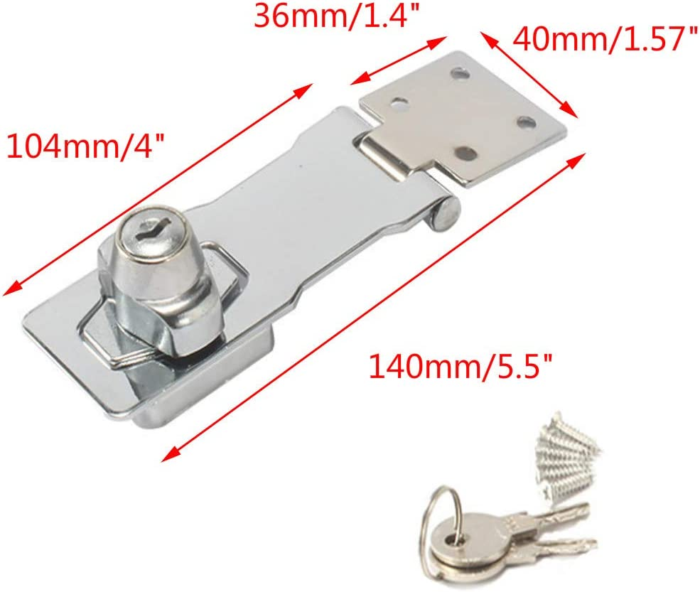 Antrader 90 Degree Door Hasp Latch Stainless Steel Safety Hinge Angle Hasp Lock for Door Cupboard Drawer Case Silver Tone