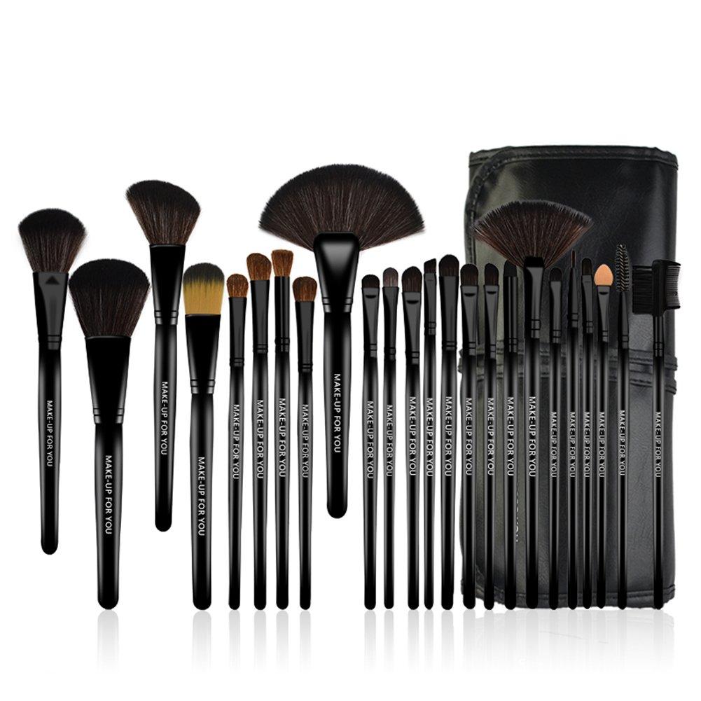 KanCai® Lot de 24 pinceaux maquillage professionnel poudre manche en bois synthétique Pinceau à maquillage kit avec étui en cuir
