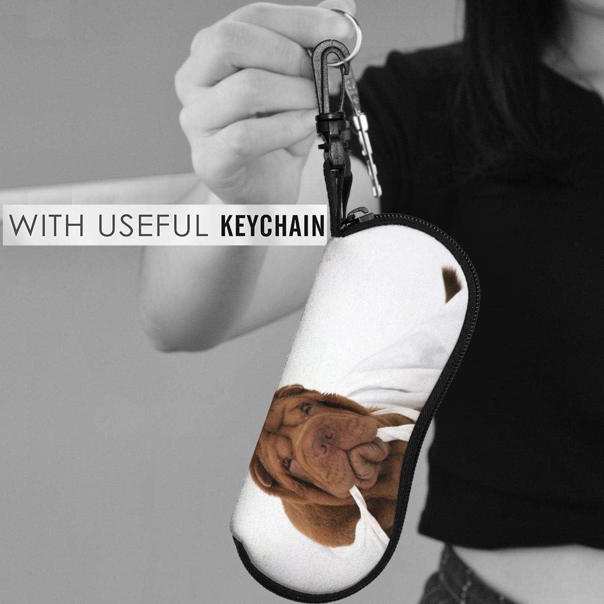 Shar Pei DogSunglasses Soft Case Portable Ultra Light Neoprene Zipper Eyeglass Case Holder With Belt Clip
