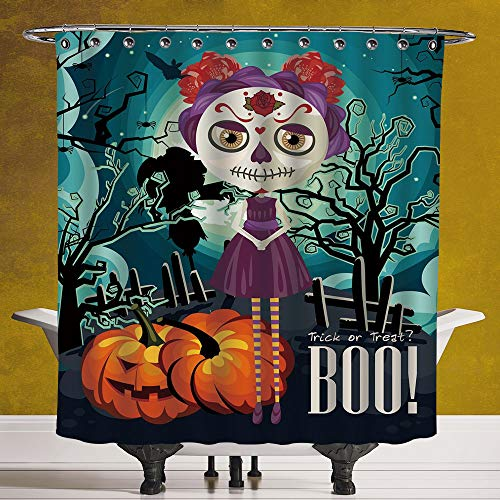 SCOCICI Fun Shower Curtain 3.0 [ Halloween,Cartoon Girl with Sugar Skull Makeup Retro Seasonal Artwork Swirled Trees Boo Decorative,Multicolor ] Polyester Fabric Bathroom Shower Curtain