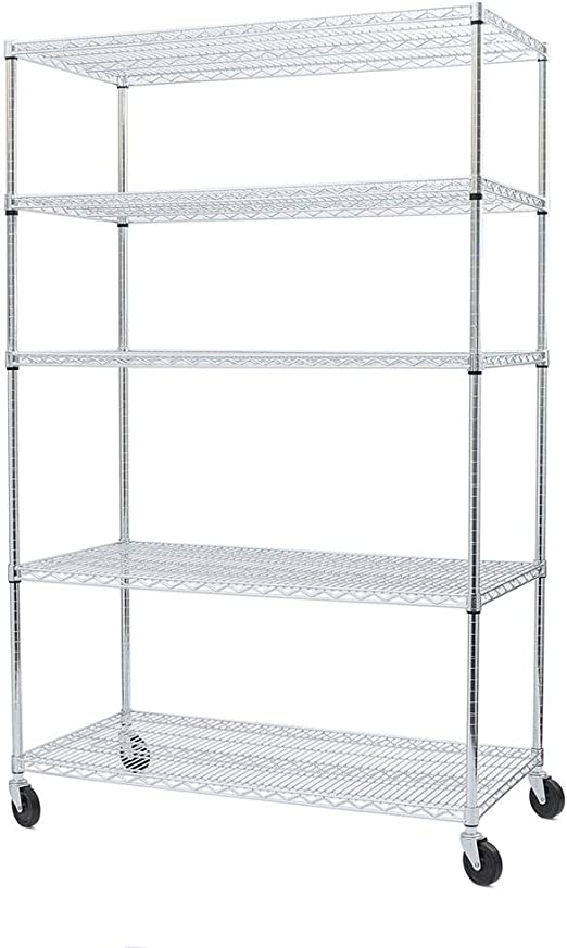 """Seville Classics NSF Listed Work Table Steel Wire Shelf 18/"""" D x 48/"""" W x 1/"""" H"""