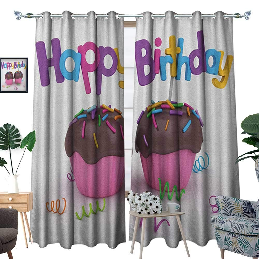 Warm Family Birthday Room Darkening Wide Curtains 3D Illustration of Chocolate Covered Cupcakes with Greetings Attached Celebration Customized Curtains W108 x L84 Multicolor by Warm Family