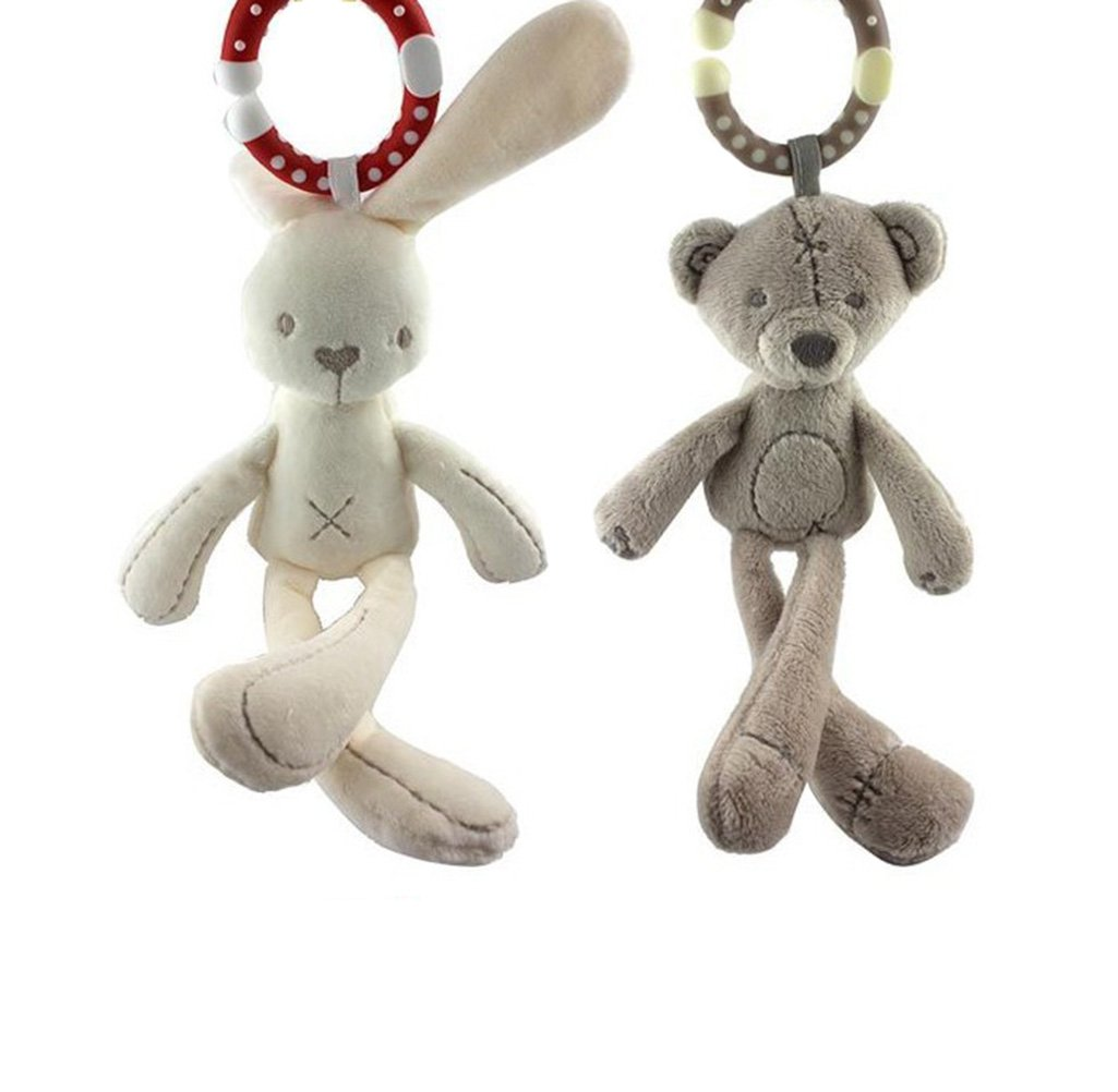Himine Baby Soft Plush Stroller Wind Chime Doll Rabbit Bear Hanging Rattle Toy