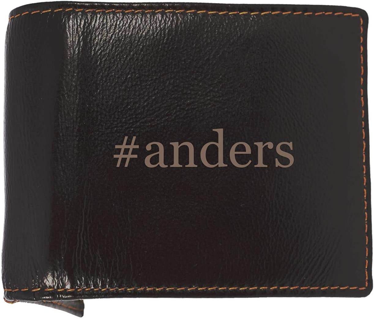 #anders - Soft Hashtag Cowhide Genuine Engraved Bifold Leather Wallet