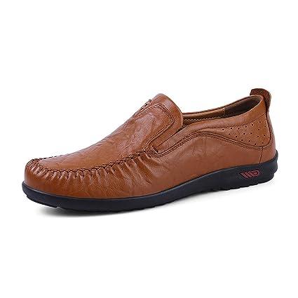 Sunny&Baby Slipper de Cuero Genuino de los Hombres en Mocasines Mocasín Zapatos de conducción Respirables Zapato