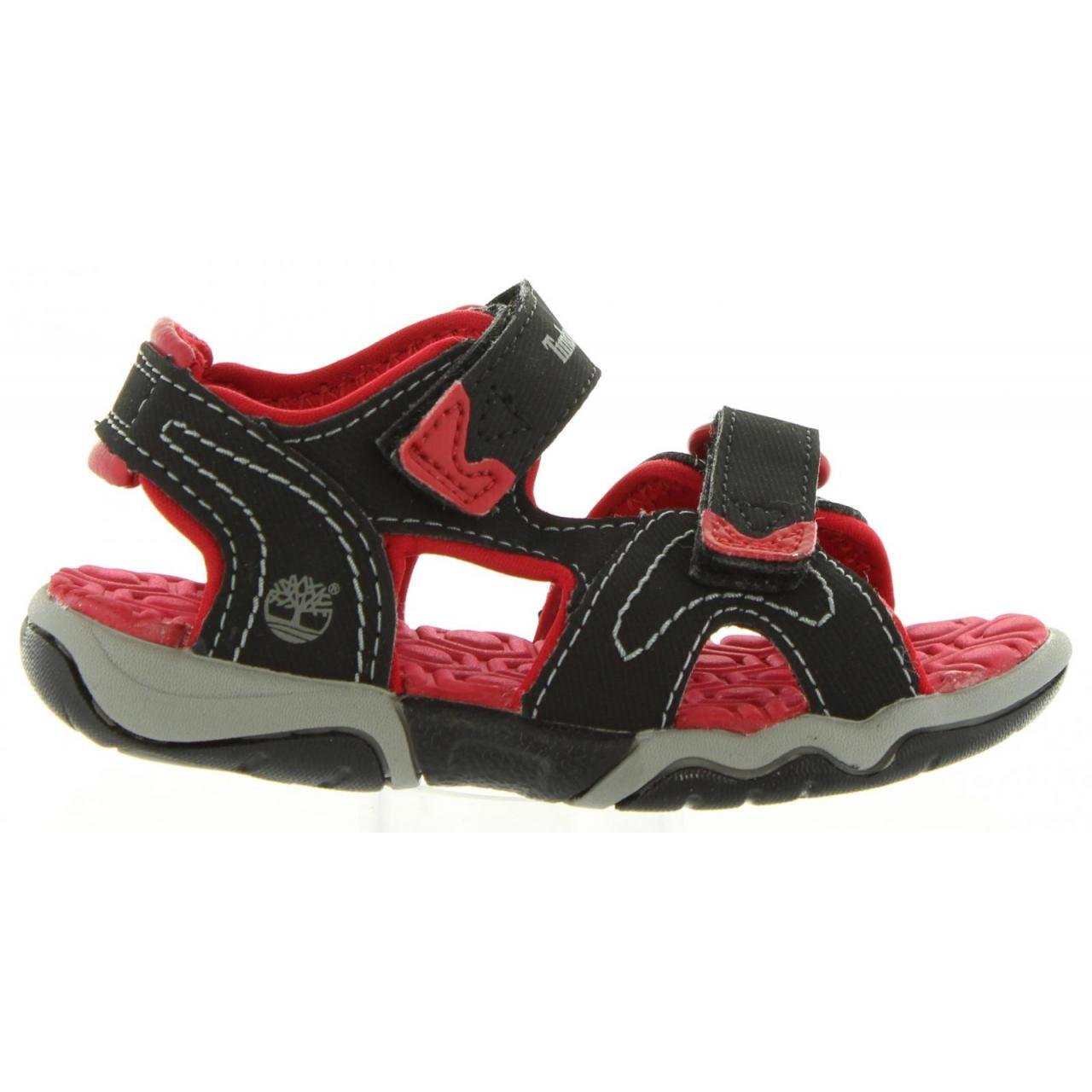 Timberland Toddler C3480A Adventure Seeker Two-Strap Leather Sandal, Color: Black/Red, Size 5.5(M) US Little Kid