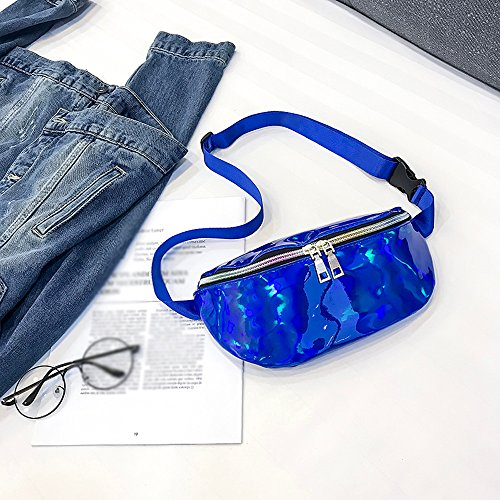 Blue Leather Fashion Bag Laser Chest Messenger Women Waist Casual Pack Outdoor Shoulder Bum Messenger Bag Robemon Bag aqdW7wz
