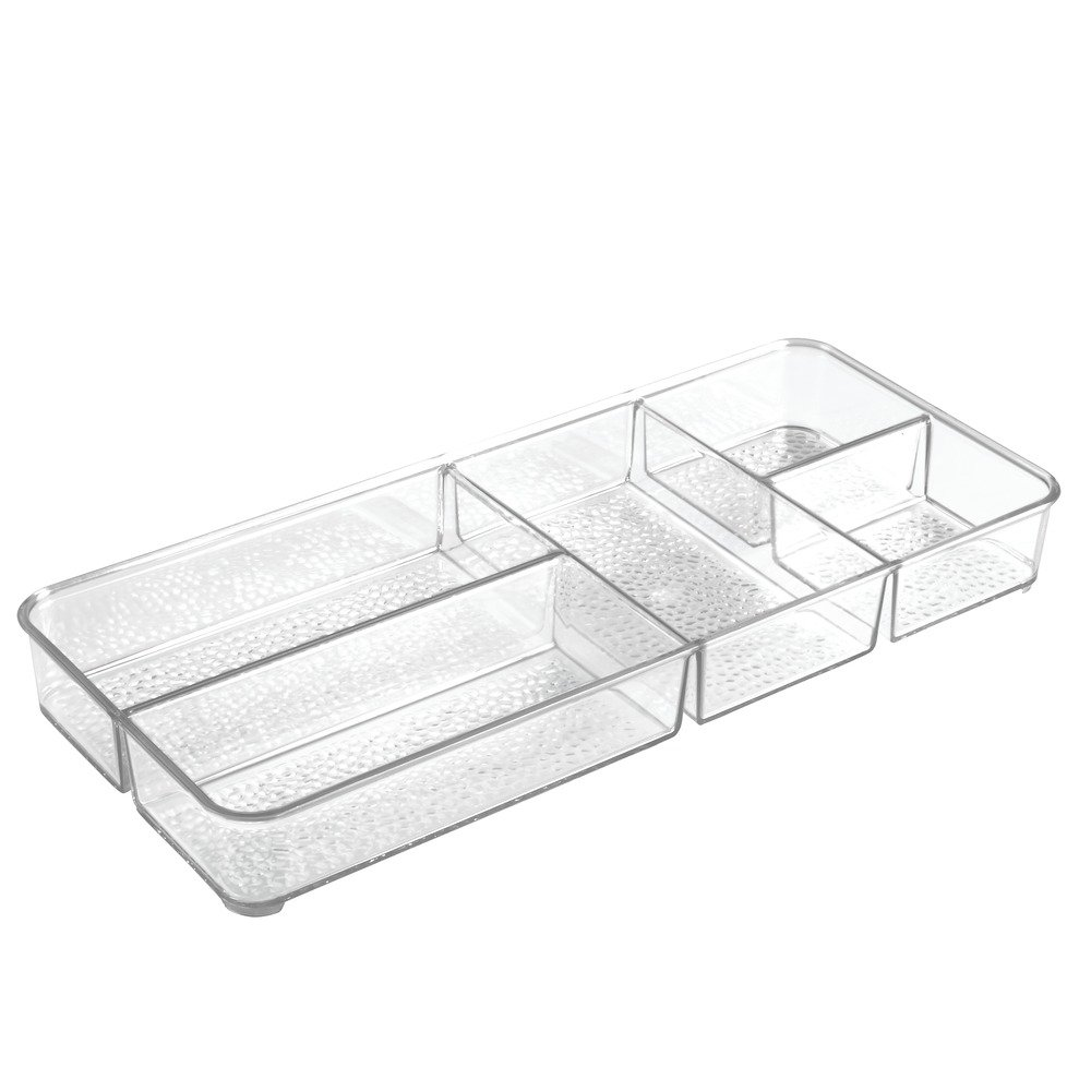 InterDesign Rain Cosmetic Organizer Tray for Vanity Cabinet to Hold Makeup, Beauty Products - Clear