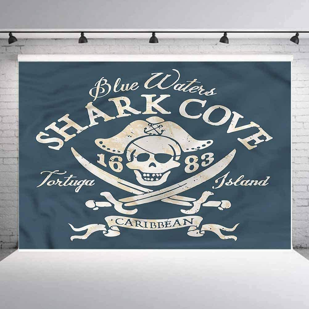 5x5FT Vinyl Photo Backdrops,Pirate,Shark Cove Tortuga Island Background for Selfie Birthday Party Pictures Photo Booth Shoot