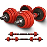 Highger Cast Iron Adjustable Dumbbells Barbell,44 Lbs(22Lbs Pair) Paint Baking Free Weights with Steel Connector,Handles and