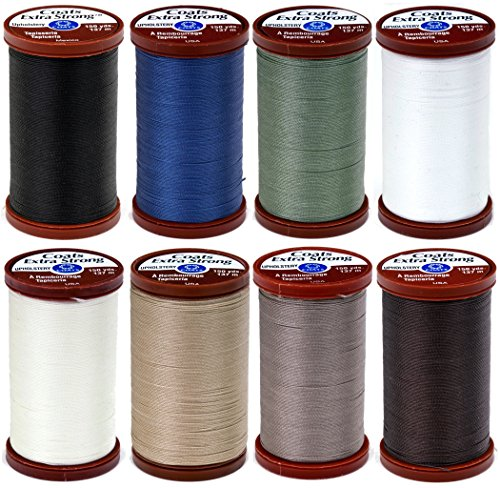 (8 Color Bundle of COATS & CLARK Extra Strong Upholstery Thread - 150 yards each (Black, White, Chona Brown, Driftwood, Green Linen, Hemp, Natural & Soldier)