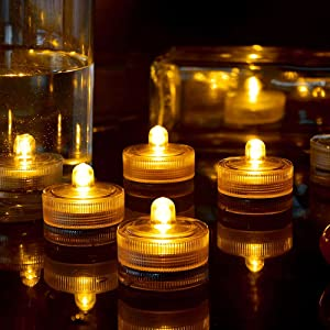 HL 24pcs Submersible LED Light,Amber Waterproof Flameless Candle Tealights,Underwater Pool Lights for Wedding Home Vase Festival Party Decoration