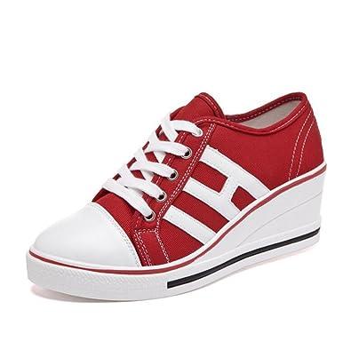 mogeek Damen Low Top Sneaker Bequem Keilabsatz Canvas Schuhe