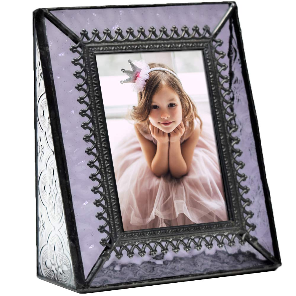 J Devlin Pic 376-2535 Vintage Purple Glass Picture Frame Tabletop Photo Frame School Photos 2 1/2 x 3 1/2 Keepsake Gift by J Devlin Glass Art