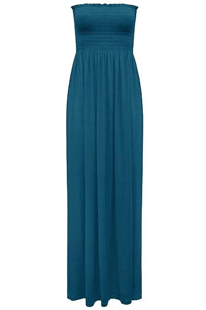 Star Fashion Damen Trägerloses Maxi Kleid Damen Hauchdünnes
