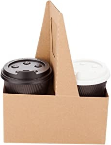 Altalena Drink Carriers, 100 Disposable Cup Carriers With Handles - Holds 2 Cups, For Delivery Or To Go, Kraft Paper Drink Holders, Built-In Handle, Fits Multiple Beverages - Restaurantware