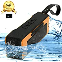 Portable Outdoor,Shower Bluetooth Speaker with 12 Hour Rechargeable Battery Life,A Memory Card As A Gift,IP65 Waterproof,10M,Dust proof,Drop Resistance ,Pairs with All Bluetooth Devices (Orange)