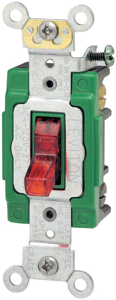 Leviton 3032-PLR 30 Amp, 120 Volt, Toggle Pilot Light, Illuminated On, Double-Pole AC Quiet Switch, Extra Heavy Duty Grade, Self Grounding, Back and Side Wired, Red