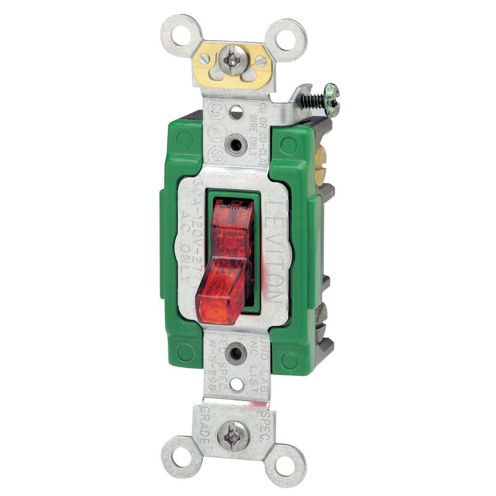 61xLqGbE8PL._SL1000_ leviton 3032 plr 30 amp, 120 volt, toggle pilot light, illuminated Double Pole Switch Schematic at nearapp.co
