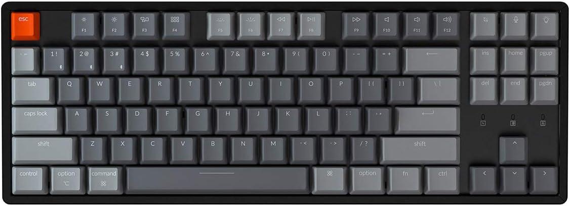 Keychron K8 Tenkeyless Wireless Mechanical Keyboard for Mac, Bluetooth RGB Backlight Multitasking Type-C Wired Gaming Keyboard for Windows with Gateron Red Switch, Aluminum Frame