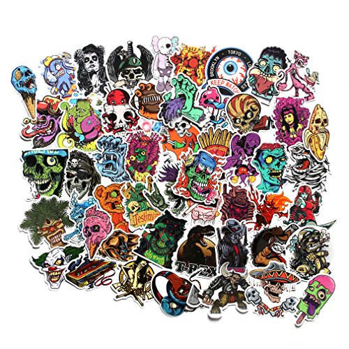 (FNGEEN Cool Stickers Pack for Laptop Horror Skull Crazy Stickers and Decals Car Luggage Bicycle Motorcycle Computer Skateboard Snowboard Water Bottle Graffiti Vinyl Decal Pack Sticker Bomb)