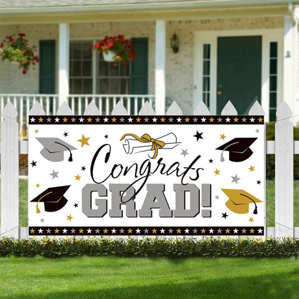 CQI Graduation Backdrop Banner Party Decorations Supplies 2019 - Grad Congrats Photo Booth Wall Party Decor 63 * 33 inch …