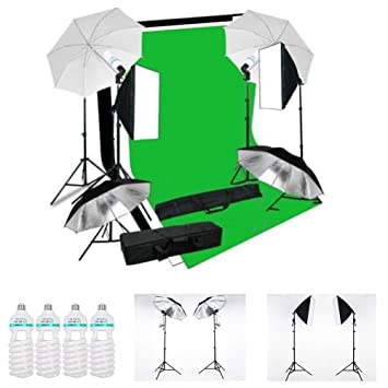 MVPOWER Kit Iluminación Continua para Fotografía con 3 x Fondos (Negro, Blanco y Verde)+2 x Softbox+4 x 135W 5500K Lámpara Bombilla +4 x Paraguas+6 x ...