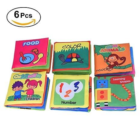 Yosoo 6 Libros de Tela para Bebé/ Libros de Texturas de Bebé,Idioma Inglés