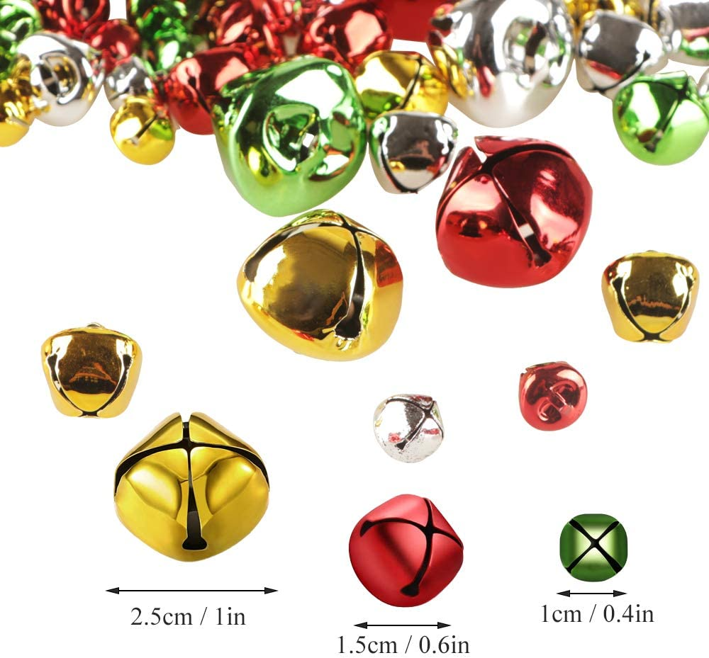 YiYa 200Pcs Christmas Jingle Bells Colorful Craft Bells DIY Bells for Christmas Festival Decoration Wreath Holiday Home Decoration 0.4 Inch//1CM, Gold, Silver, Red, Green