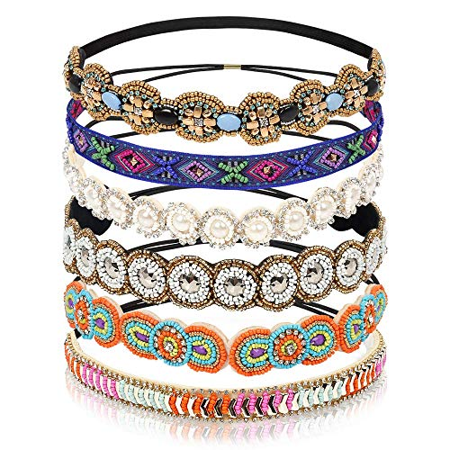 (Teenitor 6 Pieces Elastic Rhinestone Beaded Women Headbands, Handmade Vintage Jewelry Hair Bands for Girl Hair Accessories 20-26.8'' Multicolor)