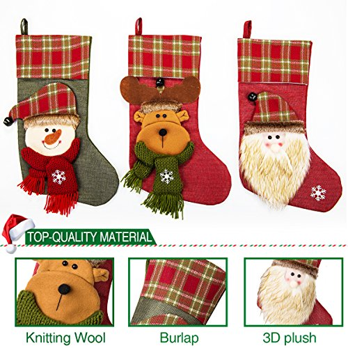 NONZERS Lovely Christmas Stockings-Classic Christmas Stockings,3 Pcs of Xmas Gift Candy Bag,Santa Snowman Reindeer Toys Stockings,3D Applique Style Christmas Stockings Decoration for Kids (17.7Lx7.5W) by NONZERS (Image #5)
