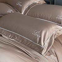 AMERTEER Satin Pillowcase [ Set of 2 ] Comfort & Soft White Pillow Standard 20x30 Size 100% Soft Cotton Pillow shams Standard Size Decorative Bed Pillow Cover Set (Brown)