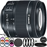 Canon EF-S 18-55mm f/4-5.6 IS STM Lens 9PC Accessory Bundle – Includes 3 Piece Filter Kit (UV + CPL + FLD) + 4PC Macro Filter Set (+1,+2,+4,+10) + MORE - International Version (No Warranty)