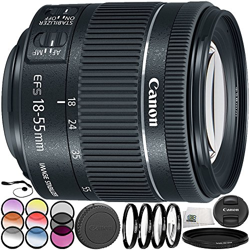 Canon EF-S 18-55mm f/4-5.6 is STM Lens 9PC Accessory Bundle - Includes 3 Piece Filter Kit (UV + CPL + FLD) + 4PC Macro Filter Set (+1,+2,+4,+10) + More - International Version (No Warranty)