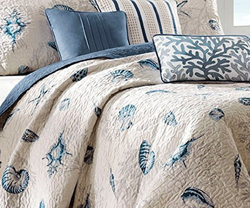 Madison Park Bayside King Size Quilt Bedding Set - Blue, Khaki, Seashells – 6 Piece Bedding Quilt Coverlets – 100% Cotton Sateen Bed Quilts Quilted Coverlet by Madison Park (Image #5)