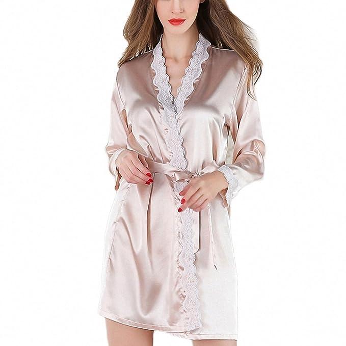 ad5516fa852 Women s Satin Silk Woman White Pink Robe Lace Bathrobe Robes Sleepwear  Ladies Sexy Robe Ivory M