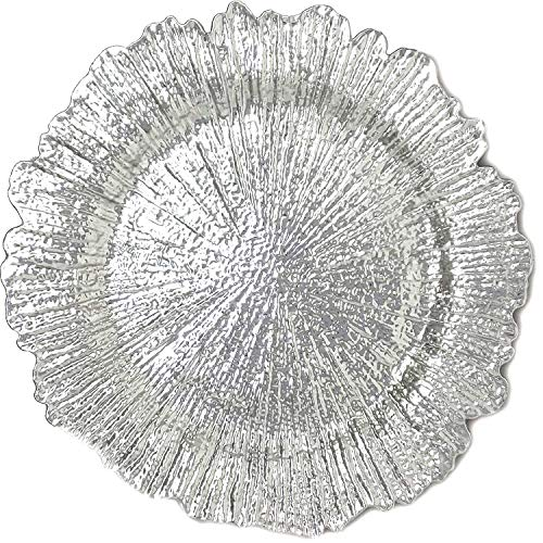 Flora Plate Dinner Set - Reef Silver Charger Plate Luxury Plastic Dinner for TableTop Holiday Party Wedding Catering Event Decoration(12, Silver Flower)