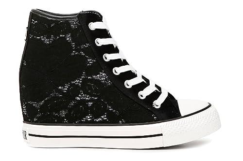 MForshop Scarpe Donna Sneakers Casual Zeppa Interna Ginnastica Pizzo Platform k9xx69b-09 - Bianco, 40
