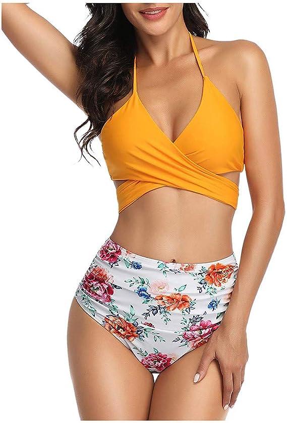 LANSKIRT Traje de Baño Mujer Bañador de Bikini con Estampado de ...