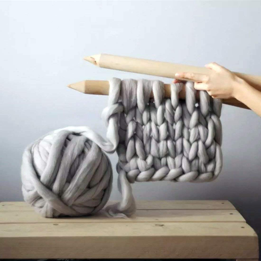 clootess Bulky Chunky Yarn Big Roving Wool for Hand Made Knitted DIY Sofa Bed Throw Blankets Light Grey 8 lbs = 3.6 kg by clootess (Image #4)