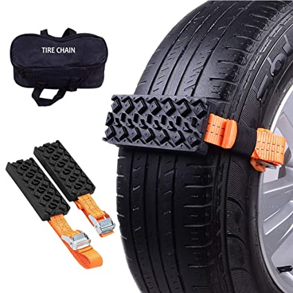 Get Unstuck Now Tianhuikeji 2 PCS Anti Skid Tire Blocks Car Self-Rescue Emergency Snow Mud Sand Tire Chain Straps Traction Device for Trucks and SUVs with Carry Bag