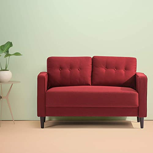 Zinus Mikhail Mid-Century Loveseat Sofa / Ruby Red Sofa Couch / Button Tufted Cushions / Easy